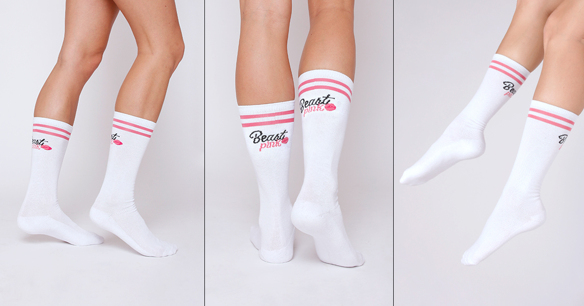 Ponožky High Socks White - BeastPink