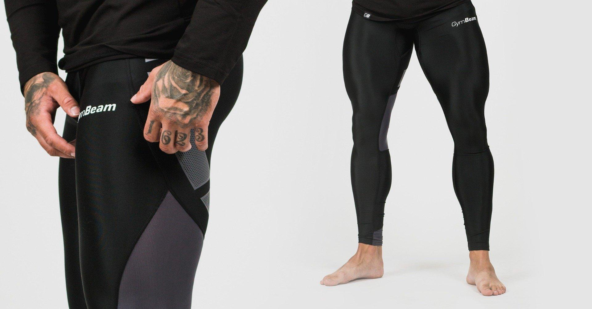 Pánské legíny Flex Tights Black Grey - GymBeam