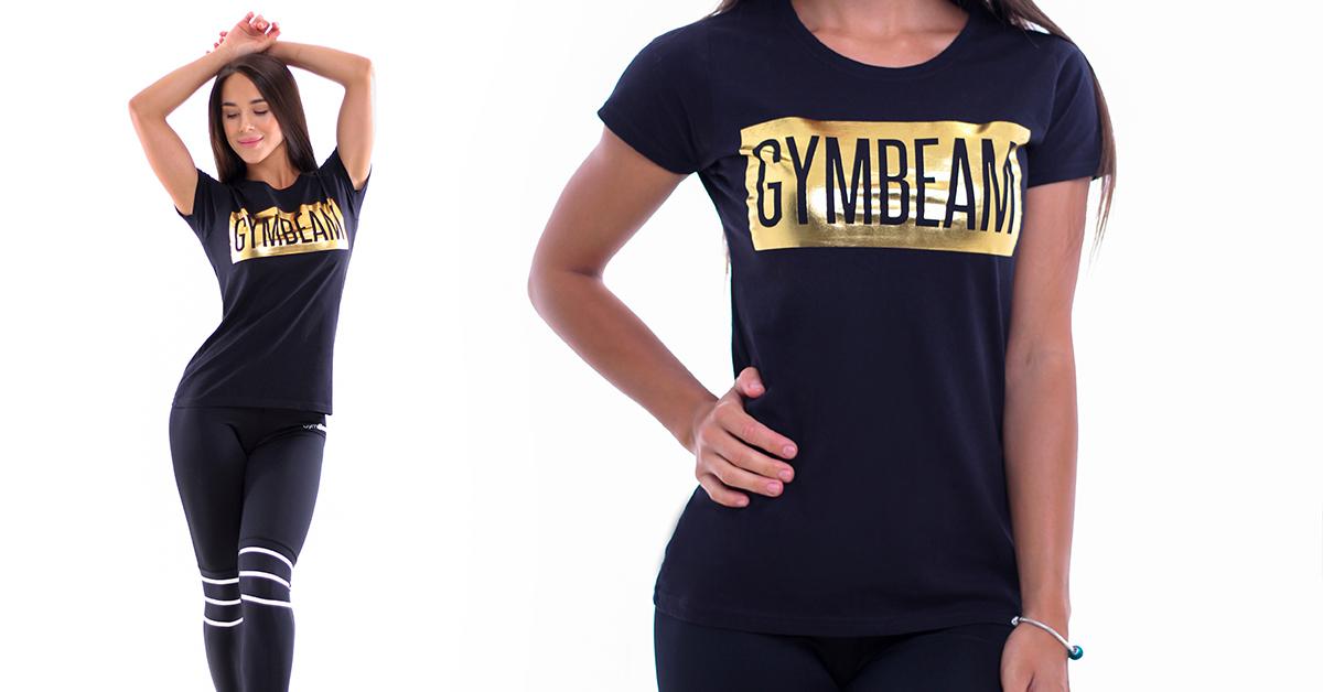 Dámske tričko Box Logo Black Gold - GymBeam