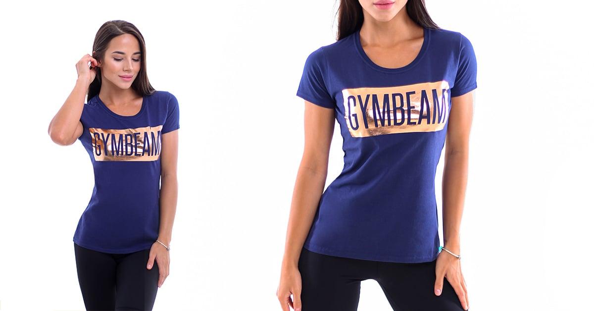 Dámske tričko Box Logo Navy Rosegold - GymBeam