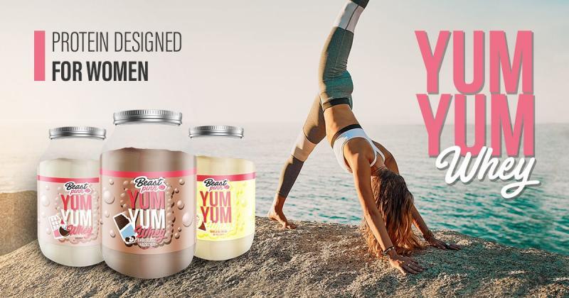 yum yum protein - beast pink by gymbeam - proteín pre ženy