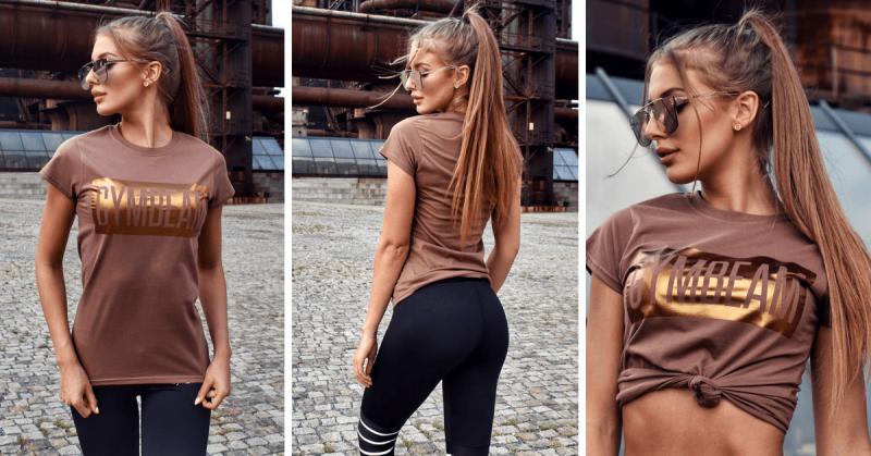 Tricou pentru femei Box Logo Brown Bronze - GymBeam