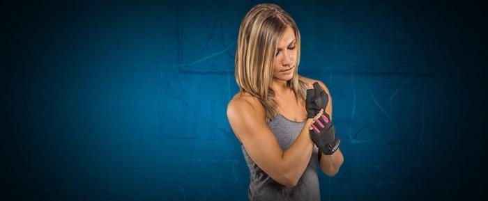 fitness dámske rukavice Camo Pink